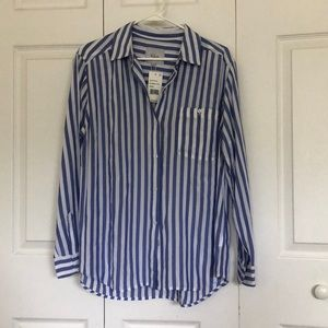 Rails long sleeve blue and white stripped shirt L